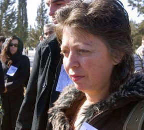 Sevgul Uludag at a funeral of one of the `missing` Turkish Cypriots
